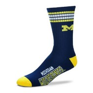 Adult For Bare Feet 4 Stripe Michigan NCAA Deuce Socks