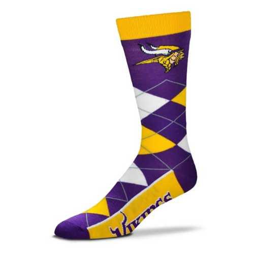 For Bare Feet Minnesota Vikings Argyle Crew Socks
