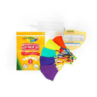 Kids School Mask Pack Crayola Reusable Cloth 5-Pack Face Mask