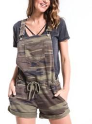 Womens Z Supply Camo Short Overalls