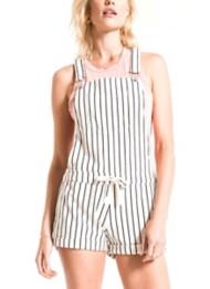 Womens Z Supply Pinstripe Short Overalls