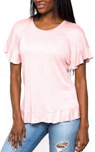 Women's Downeast Ruffle Asymmetric Short Sleeve Shirt