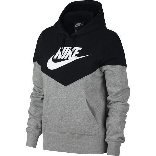 89c538e0bb7e ... Women s Nike Sportswear Heritage Fleece Hoodie Tap to Zoom  Dk Grey  Heather Black White