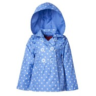 Toddler Girls' Pink Platinum Dot Print Trench Coat
