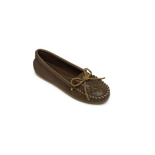 Women's Minnetonka Deerskin Beaded Hardsole Moc Shoes
