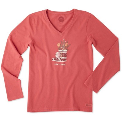 Women's Life is Good Holiday Bootie Crusher Long Sleeve Shirt