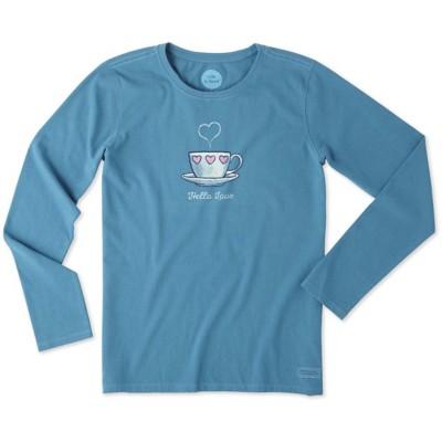 Women's Life is Good Love Mug Crusher Long Sleeve Shirt