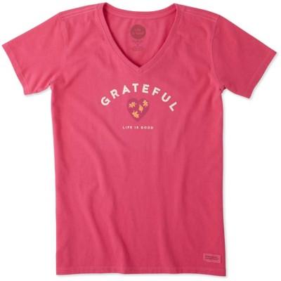 Women's Life is Good Grateful Heart Leaf Crusher Short Sleeve Shirt