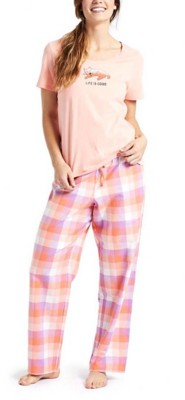 Women's Life is Good Coral Plaid Classic Sleep Pant