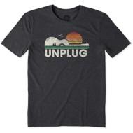 Men's Life is Good Unplug Camp Guitar Cool T-Shirt
