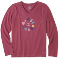 Women's Life Is Good Crusher Colorful Leaves Long Sleeve Shirt