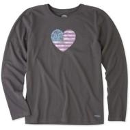 Women's Life Is Good Crusher American Love Long Sleeve Shirt