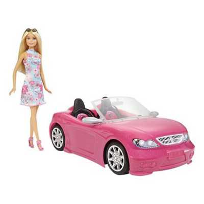 Barbie Doll and Pink Convertible Toy
