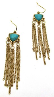 Women's Silver Jeans Turquoise/Gold Fringe Earring Set
