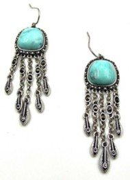 Women's Silver Jeans Turquoise Fringe Earring Set