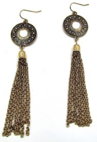 Women's Silver Jeans Bronze Fringe Earring Set