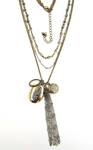 Women's Silver Jeans Mixed Metal Feather Necklace