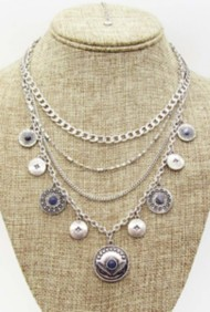 Women's Silver Jeans Multi Row Coin Necklace