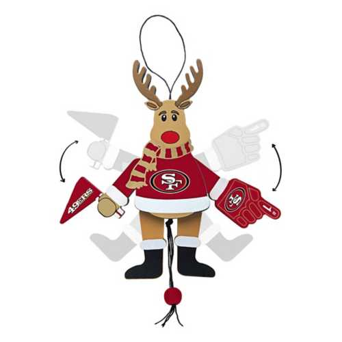 Logo Brands San Francisco 49ers Wood Reindeer Ornament