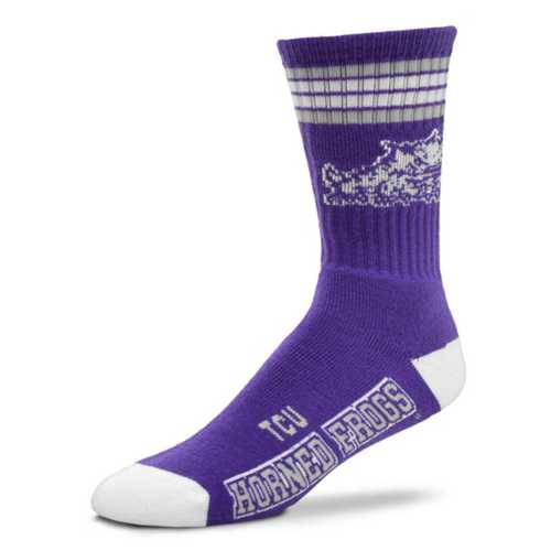 For Bare Feet Kids' TCU Horned Frogs 4 Stripe Deuce Crew Socks