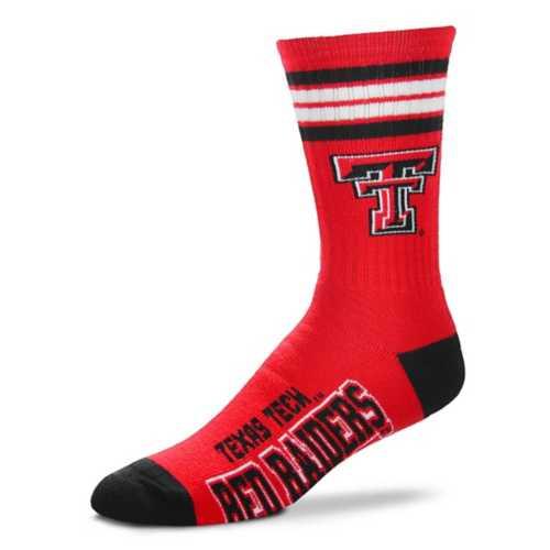 For Bare Feet Kids' Texas Tech Red Raiders 4 Stripe Deuce Crew Socks