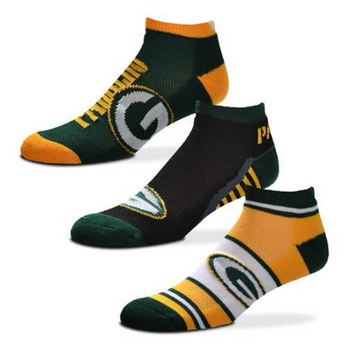For Bare Feet Green Bay Packers Show Me The Money 3 Pack No Show Socks