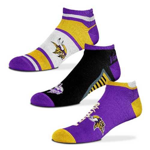 For Bare Feet Minnesota Vikings Show Me The Money 3 Pack No Show Socks