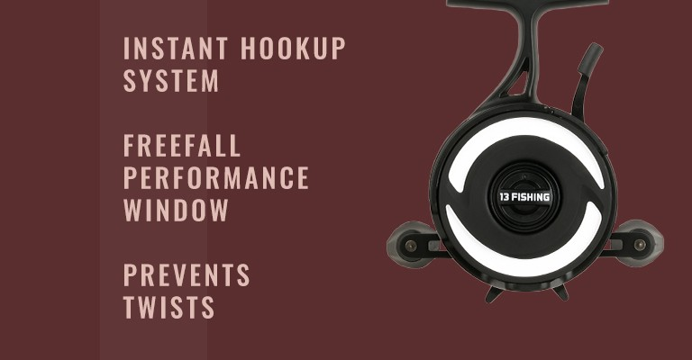 13 Fishing Black Betty FreeFall Inline Ice Reel: Instant hookup system, freefall performance window, and prevents twists