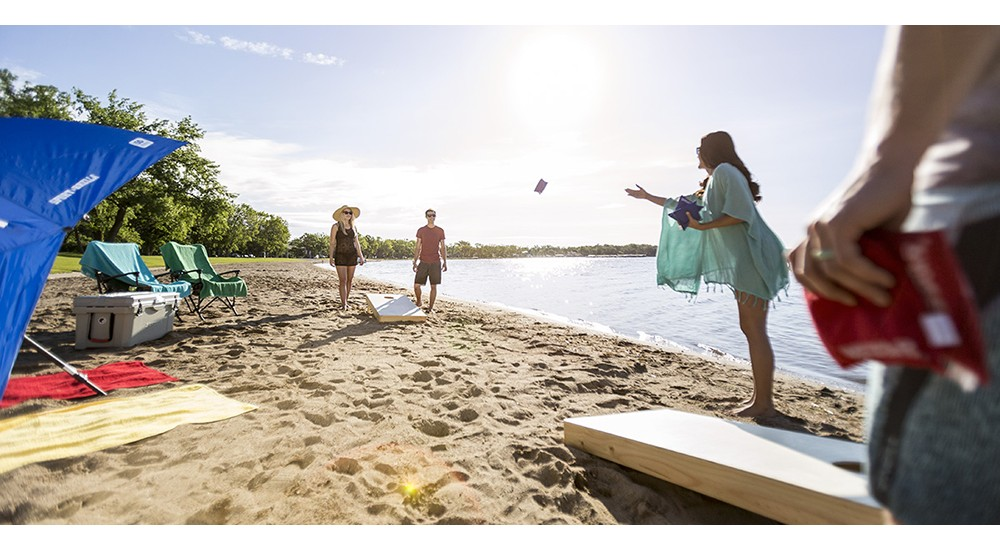 Playing a game at the lake