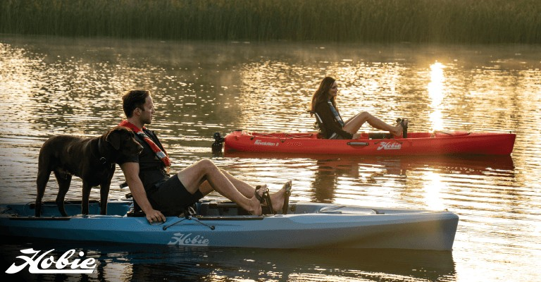 two people kayaking on sit-on-top kayaks with a dog