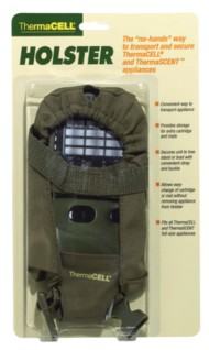 Holster Accessory With Clip For ThermaCell or ThermaScent Units Olive Green