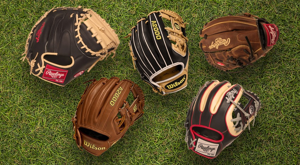 Rawlings Gloves laying on the baseball field