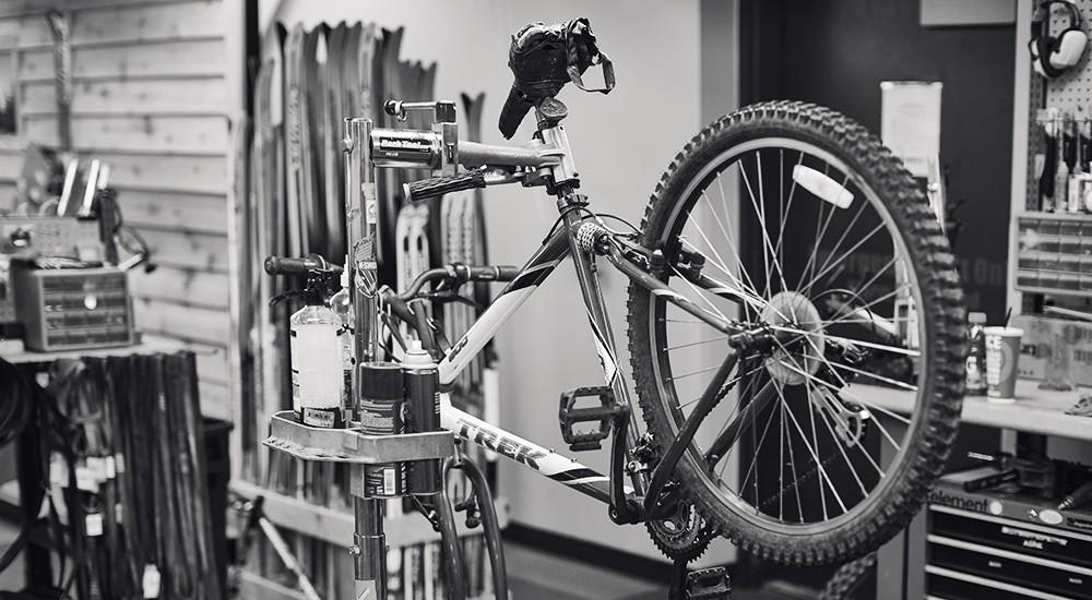 A bike in a repair stand