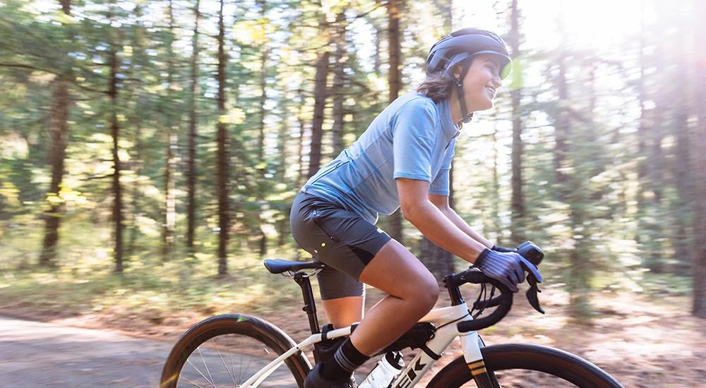 Girl biking on the bike trails