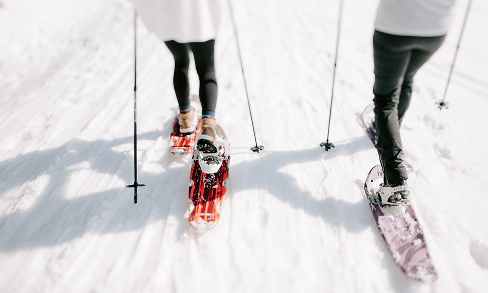 Snowshoeing with snowshoes