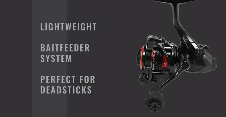 okuma ceymar baitfeeder spinning reel: lightweight, baitfeeder system, and perfect for deadsticks