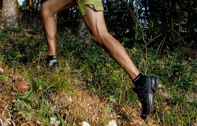 Trail running shoe on a man