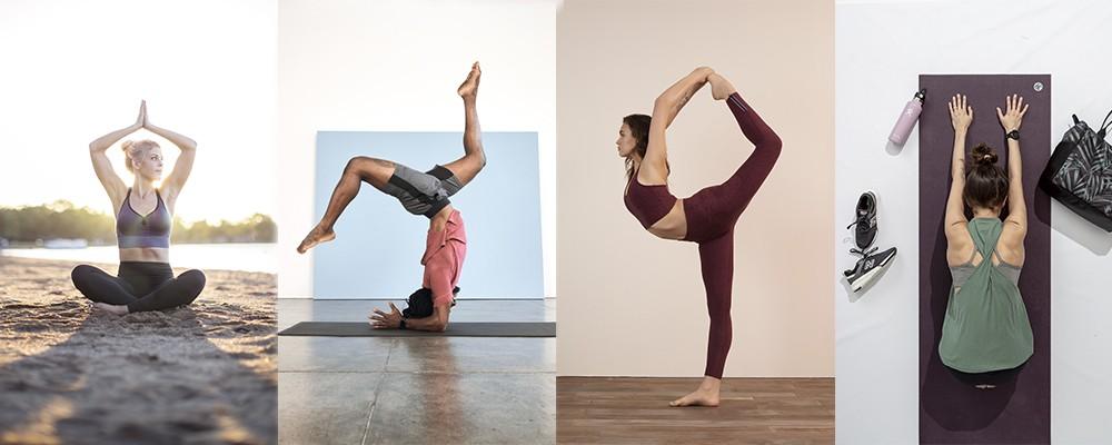 People doing yoga while wearing yoga clothing